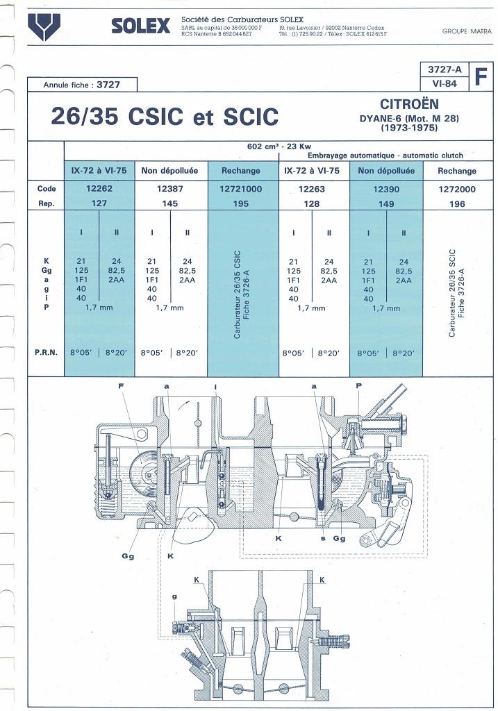 carburateur solex 26 35 csic